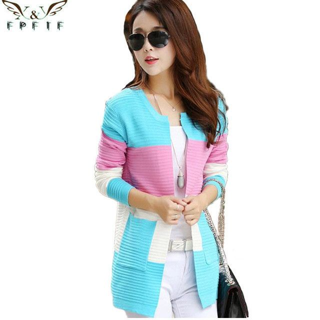 Fall and winter cardigan sweater Knitted Cotton Patchwork O-Neck Pink/Blue/red Fashion Leisure cardigan women