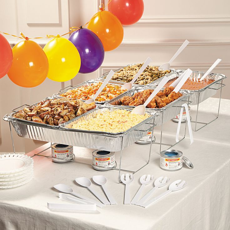 Buffet Serving Set - OrientalTrading.com. $41.99. Enough for up to 6 pans of food, this serving kit includes 3 full-size metal chafing dish racks, 3 full-size foil pans, 6 half-size foil pans, 6 heating fuels, 3 plastic serving tongs, 6 plastic serving spoons and 6 plastic serving forks. (33 pcs. per set)