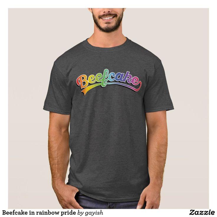 Beefcake in rainbow pride colored T-shirt.  #beefcake #muscles #muscular #fitness #fit #male #slang #man #rainbow #tshirt #tee #gayish