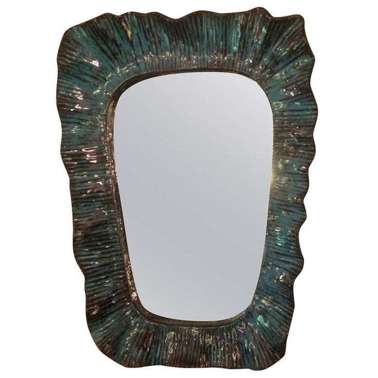 Zaccagnini Green Ceramic Handmade Framed Mirror | From a unique collection of antique and modern wall mirrors at https://www.1stdibs.com/furniture/mirrors/wall-mirrors/
