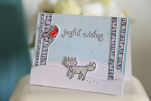 Lawn Fawn - Joy to the Woods + coordinating dies, Stitched Hillside Borders _ card by Nicole G. for Lawn Fawn Design Team