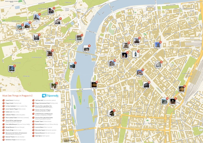 Grab a free Prague Tourist Map. Easy to print-out. Great to use on-the-go.