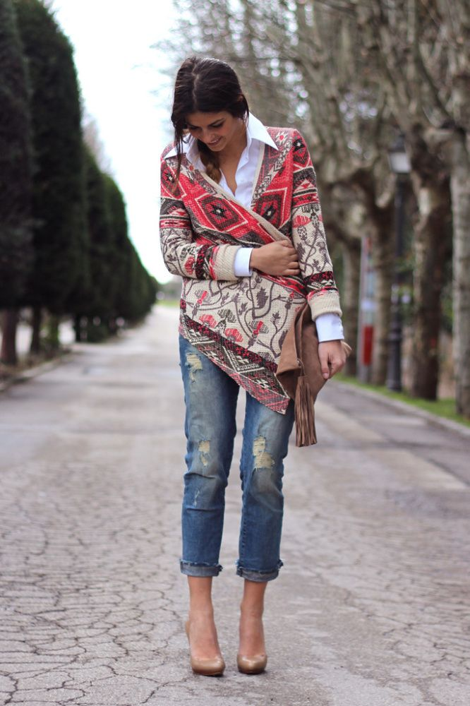 tribal printed draped cardigan over white shirt and ripped jeans
