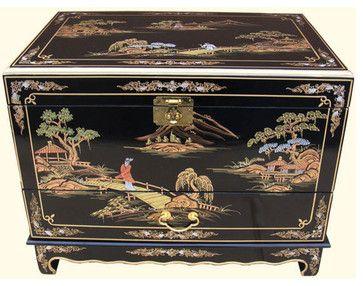 """27""""w. Hand Painted Black Lacquer Oriental Trunk with Drawer and Tray - asian - Decorative Trunks - Oriental Furnishings"""