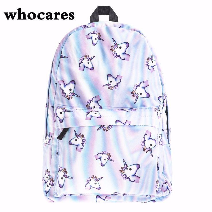 Голо единорог Печати рюкзак женщины mochila Кто Заботится высочайшее качество bookbag школьные сумки для девочек-подростков sac dos холст рюкзак #CLICK! #clothing, #shoes, #jewelry, #women, #men, #hats, #watches