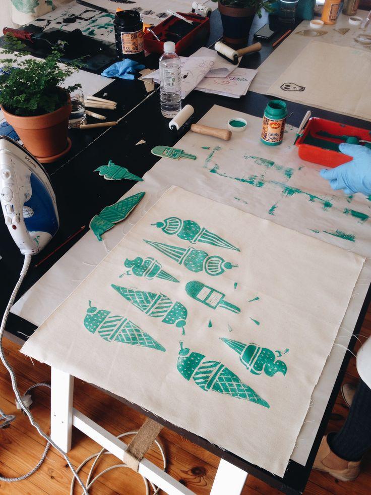 Block printed at the Lichen & Leaf Block Printing Workshop!