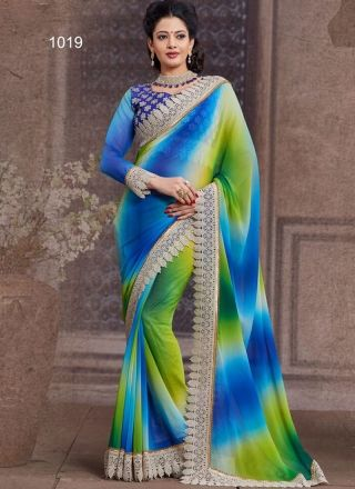 Multicolored Chiffon Shaded Designer Patch Border Cut Work Saree  http://www.angelnx.com/Sarees