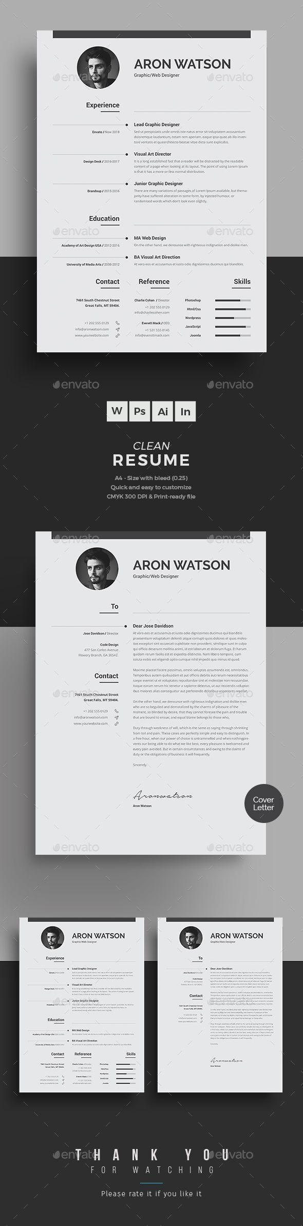 Simple Resume Design with matching cover letter
