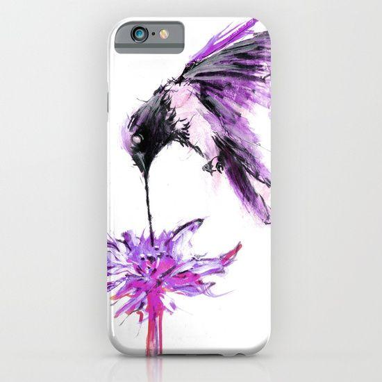 Cellphone Case, painting  watercolor  ink  illustration   realism  bird  flower  hummingbird   drip  paint