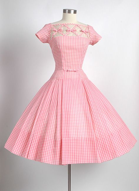 HEMLOCK VINTAGE CLOTHING : 1950's Seymour Jacobson Pink Gingham Dress YES PLEASE!