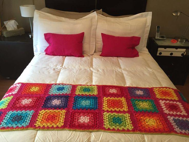 manta / pie de cama , tejido al crochet. algodon 100%