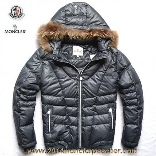 Moncler Outlet UK Mens Down Jackets with Fur Hood Grey