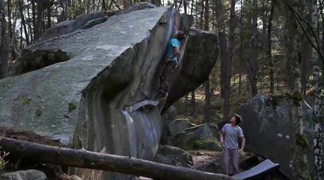 BD athlete Nalle Hukkataival bouldering in Fontainebleau