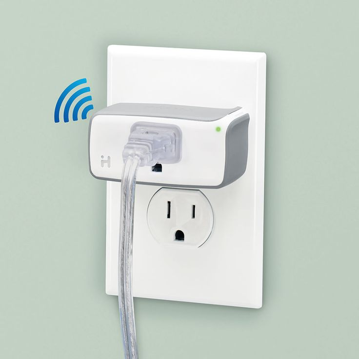 The Control From Anywhere Outlet - Hammacher Schlemmer. This is the WiFi enabled wall plug that lets you turn a lamp, air conditioner, or any connected device on or off with your Smartphone. A free app acts like a virtual power switch, enabling you to control lights or electrical appliances from a smartphone or tablet over the Internet. This allows you to turn on lights or an air conditioner on your way home so one needn't arrive to a darkened or sweltering room.