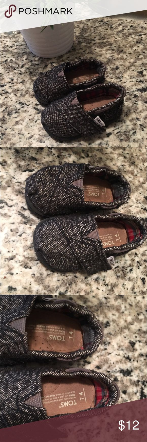 Grey Tiny Toms Adorable Tiny Toms size 4. Great condition! TOMS Shoes