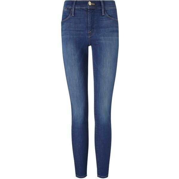 Frame Denim Fleet Street Le High Skinny Jeans ($350) ❤ liked on Polyvore featuring jeans, blue, frayed jeans, stretchy skinny jeans, faded blue jeans, faded skinny jeans and super stretch jeans