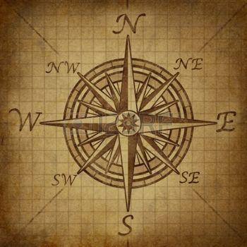 boussole ancienne: Compass rose avec texture vieux grunge millésime représente un symbole de direction de cartographie pour la navigation et de positionnement fixant un tableau pour l'exploration au nord-est sud ou l'ouest. Banque d