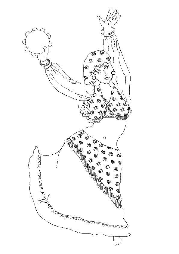 A colorier une femme dans sa belle robe de gitane et qui joue du tambour basque avec ses mains for Dessin ville orientale