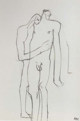 Keith Vaughan - Two Figures. Pencil.