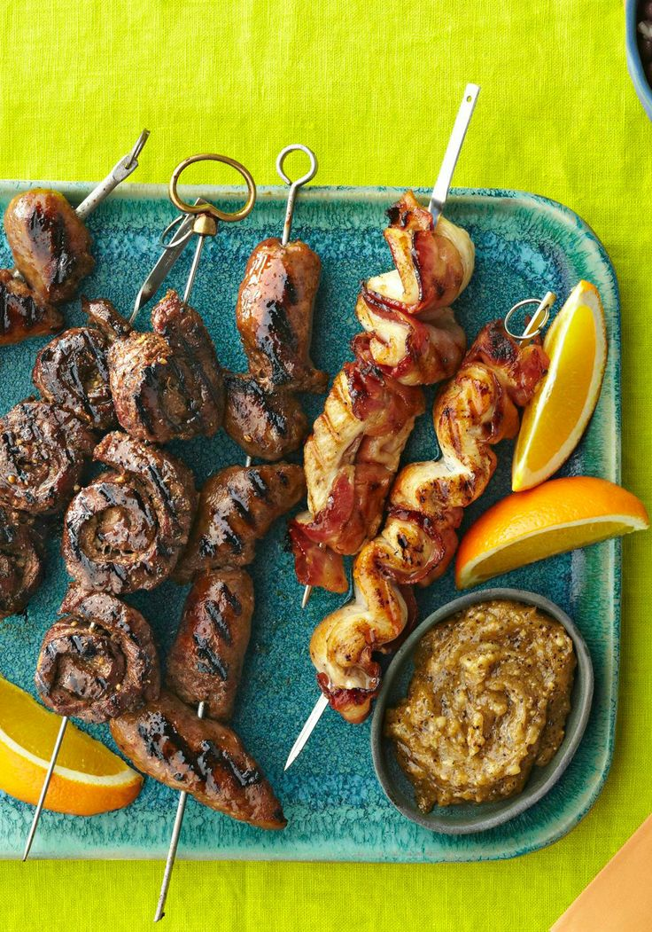 Sausage Kabobs — Tender pieces of beef, chicken and Italian sausage ...