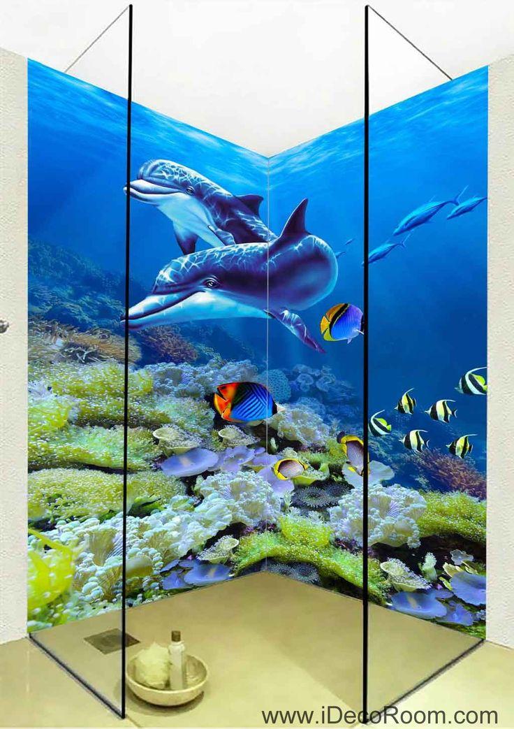 3D Wallpaper Dophins Coral Fish Wall Murals Bathroom Decals Wall Art Print Home Office Decor