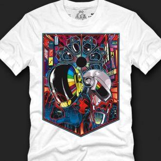 White Daft Punk graphic Tshirt Men Tees Tops Clothing Korean Fashion