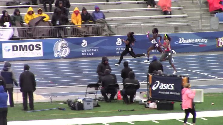 """Bad Weather Produces Good Results (haiku) """"Iowa shuts down -  Ohio State, Drake Relays, - four by one hundred"""" 2017 Drake Relays  4x100 Finals  Women Iowa A"""