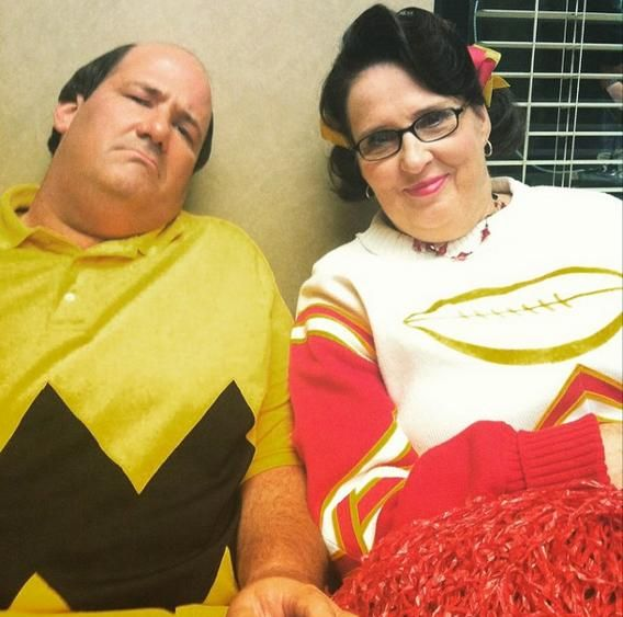 Brian Baumgartner and Phyllis Smith posed for Angela Kinsey during a Halloween episode of 'The Office.'