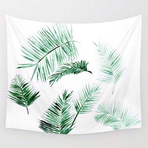 Modern Palm Leaves Wall Tapestry, palm leaves tapestry, palm wall tapestry, leaf wall tapestry, leaves wall tapestry, tropical tapestry