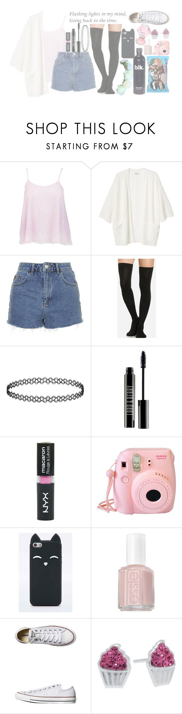 """requested c: (pastel goth)"" by rosita562 ❤ liked on Polyvore featuring Monki, Topshop, Lord & Berry, Fujifilm, Essie, Converse and Silver Treasures"