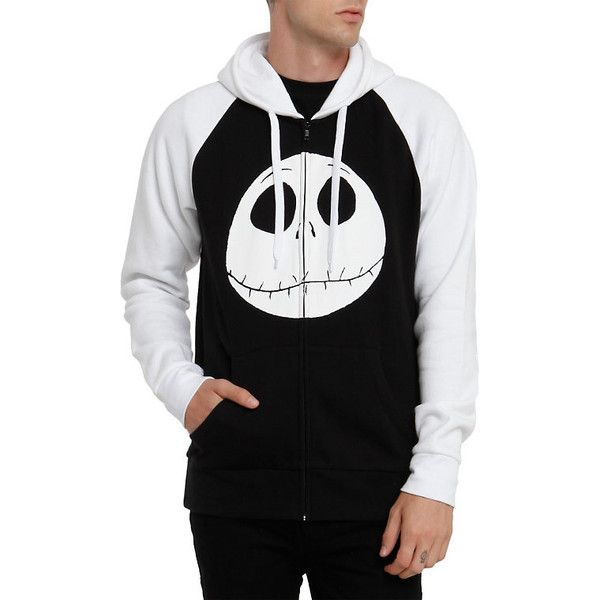 The Nightmare Before Christmas Jack Face Contrast Zip Hoodie Hot Topic ($50) ❤ liked on Polyvore featuring tops, hoodies, hooded pullover, zipper hoodies, black top, black zipper hoodie and black zip hoodie