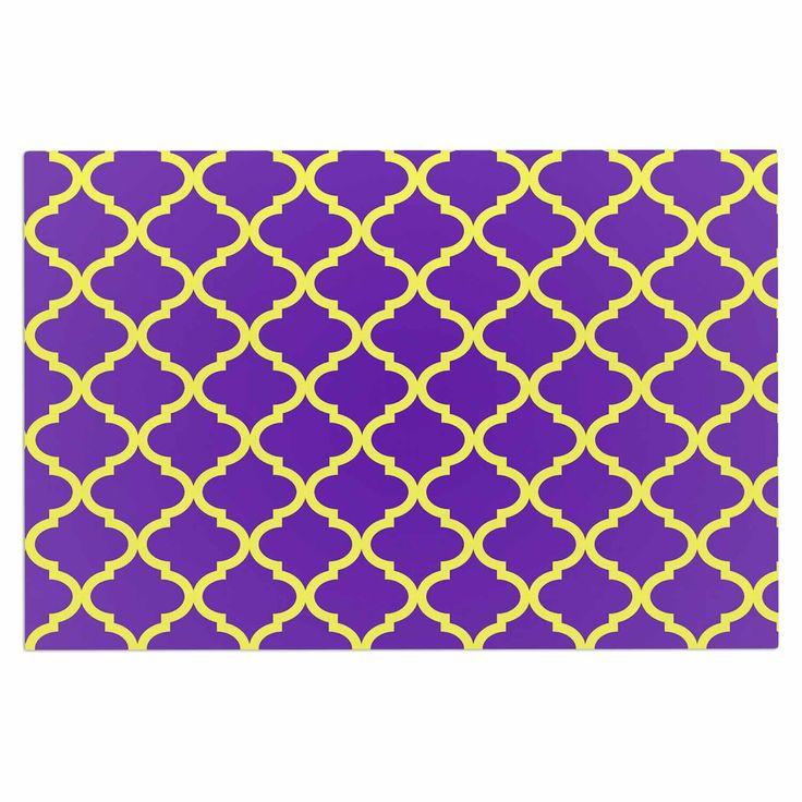 "Matt Eklund ""Culture Shock"" Yellow Purple Decorative Door Mat"