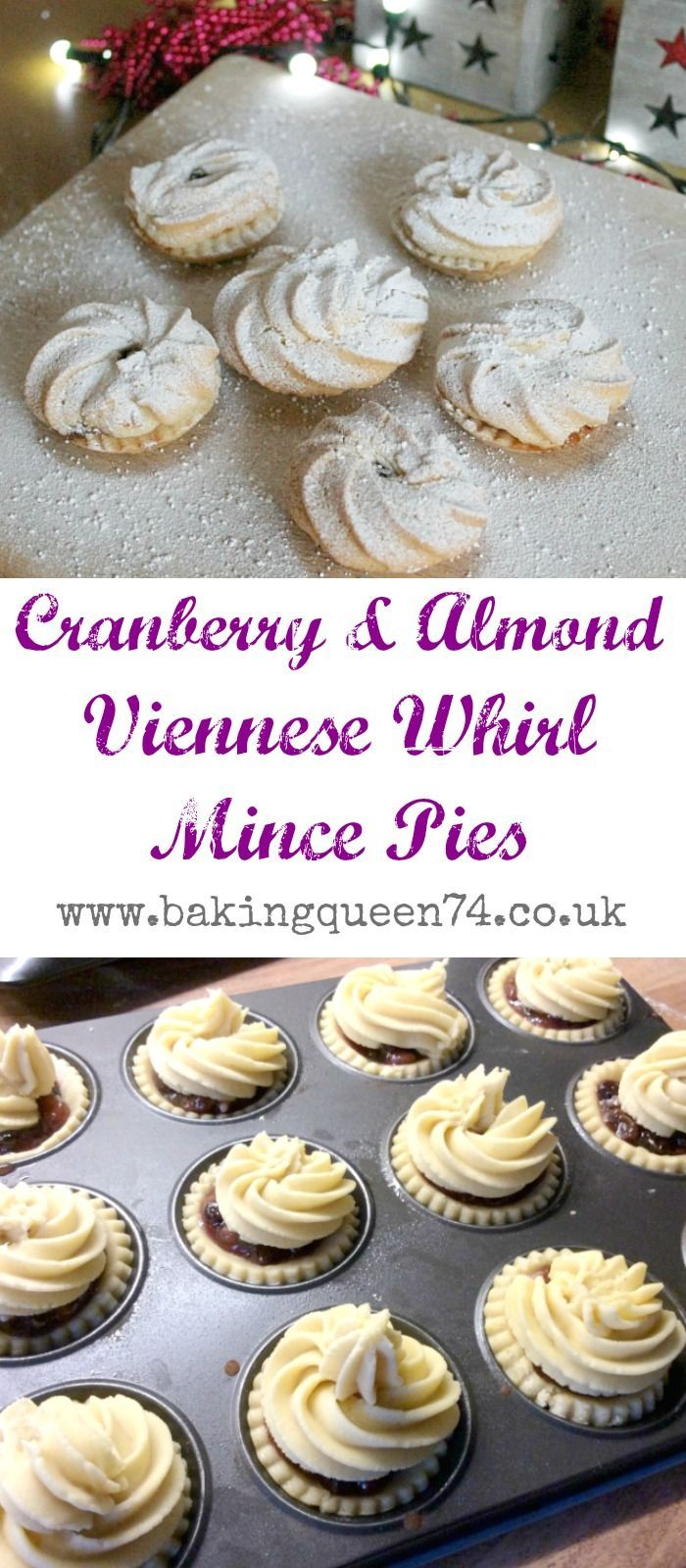Cranberry and Almond Viennese Whirl Mince Pies - a lovely Christmas bake