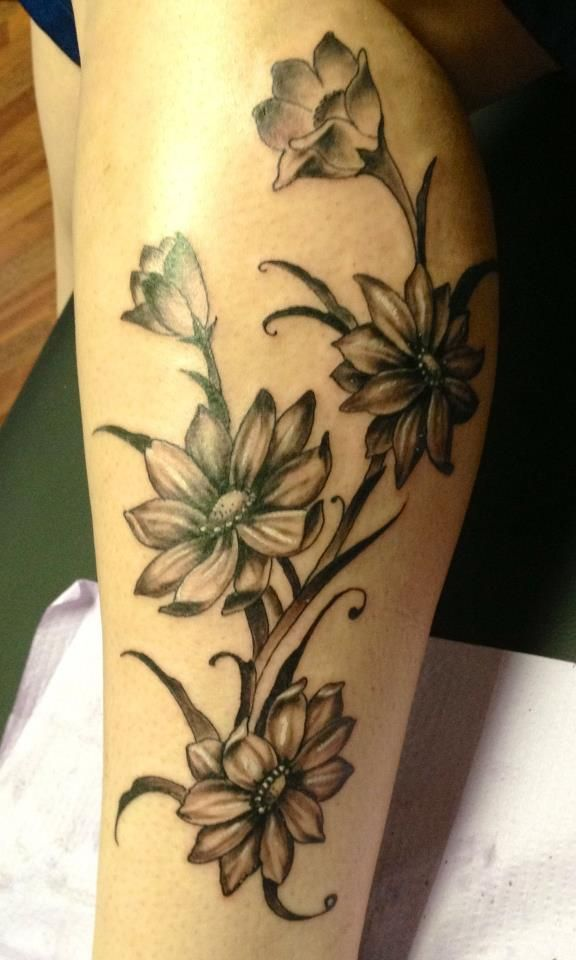 black and grey flower tattoo tattoo love pinterest i