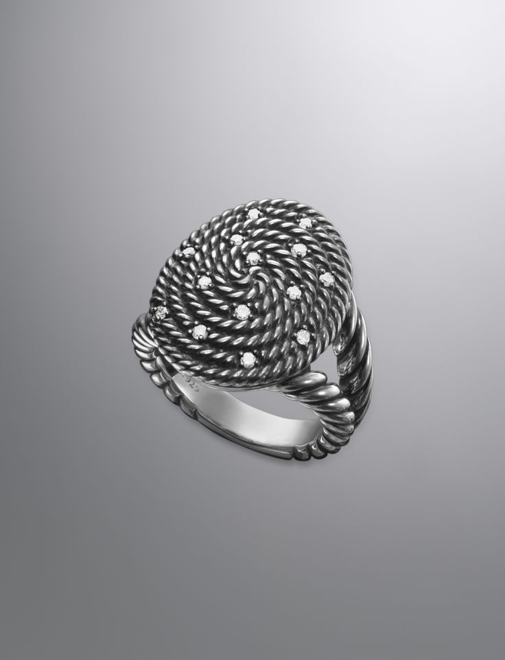 Cable Coil Ring, Diamonds