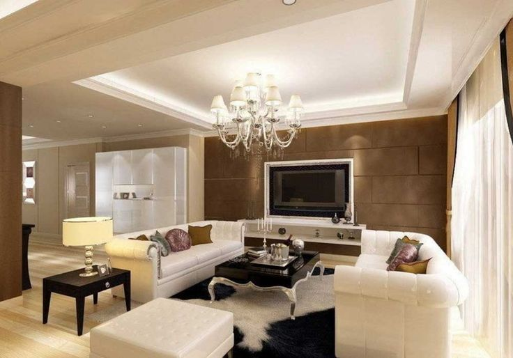 Wall Mount TV Living Room Design Ideas with Latest Gypsum Board Ceiling Design for Luxury Living Room Design