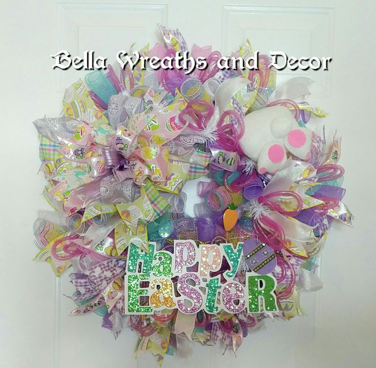 Happy Easter Deco Mesh Wreath Easter