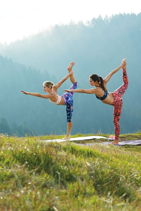 Show off your favorite yoga posture in colorful printed leggings and a great outdoor landscape.