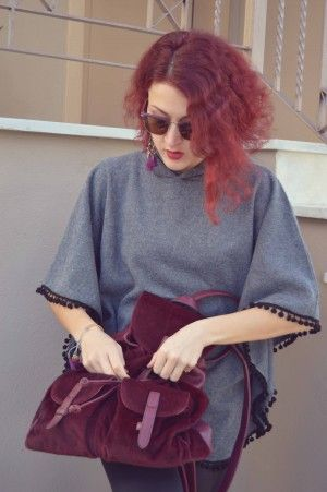#streetstyle #poncho #redhead #cool #backpack