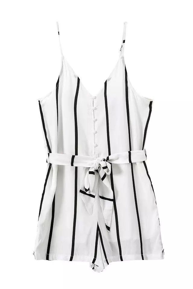 Fashion Ladies' elegant sexy backless striped jumpsuits short pants strap Rompers with seashes casual slim brand pants