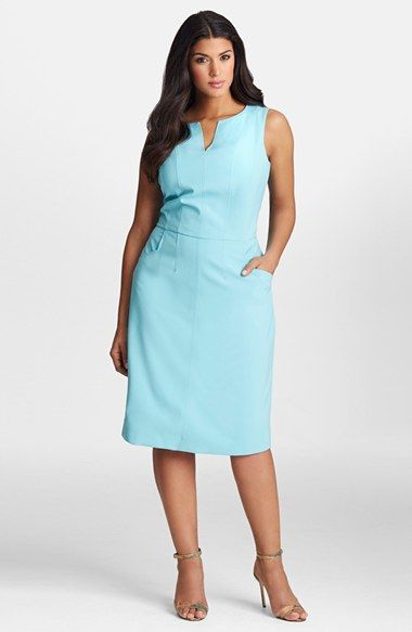 Plus Size Women's Mynt 1792 Seam Detail Sleeveless Sheath Dress