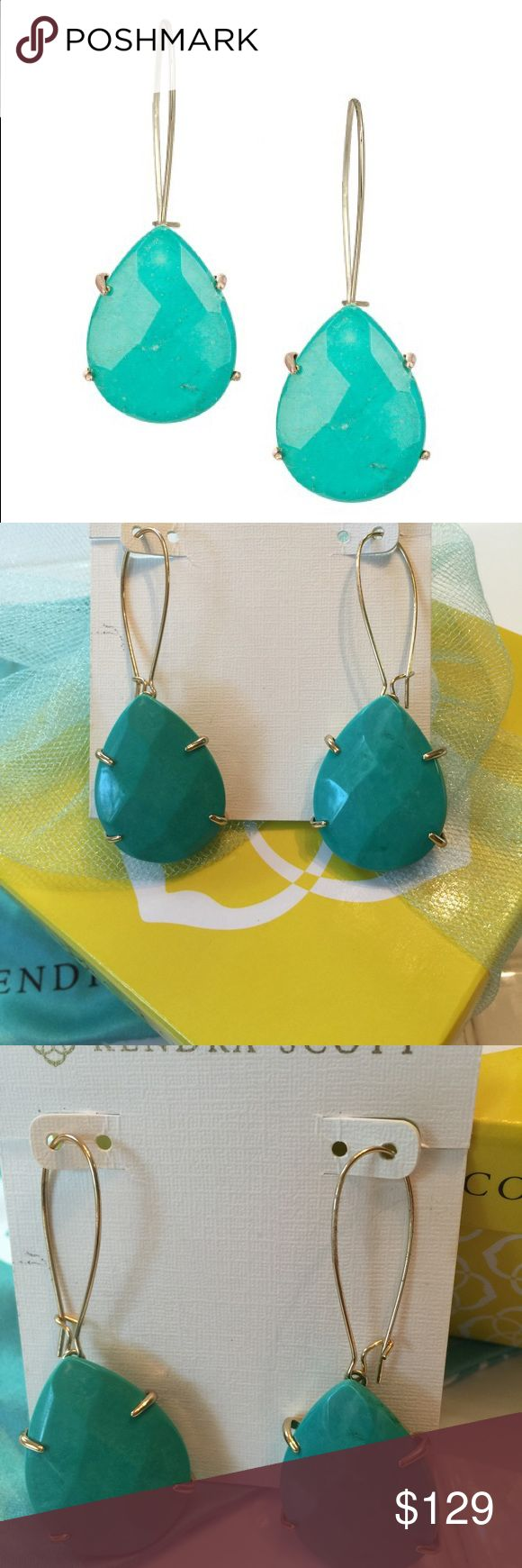 💕SALE PENDING💕NWT Kendra Scott Allison EarTEAL Brand new with tags, very hard to find genuine  Kendra Scott Allison earrings in gorgeously rare teal! These are sold out everywhere! I bought them at the Kendra Scott store, they verified they are teal and not turquoise, and they are guaranteed authentic. Comes with genuine KS signature blue dustbag and care card. Please no trades and no lowballs😊 Kendra Scott Jewelry Earrings