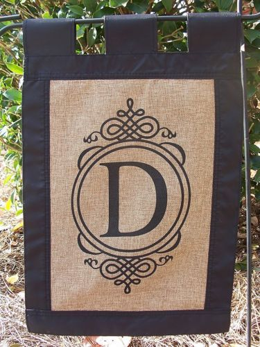 Monogram Choose Initial Black Edge Burlap Garden Flag