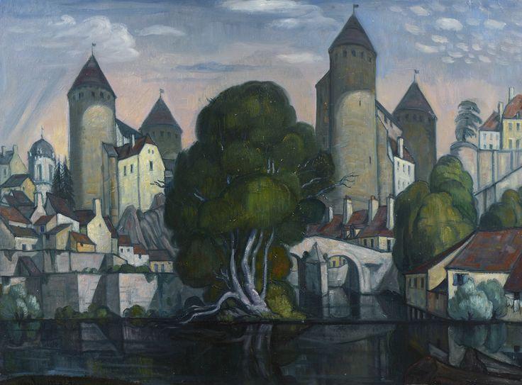 Andre Maire (1898-1984) Le pont Pinard sur l'Armançon à Saumur en Auxois, 1969 Vente le 12 avril 2015 à Semur en Auxois #Semur #Auxois #Maire