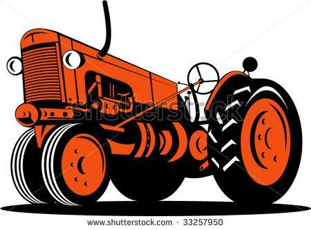 Vintage tractor isolated on white background #tractor #retro #illustration