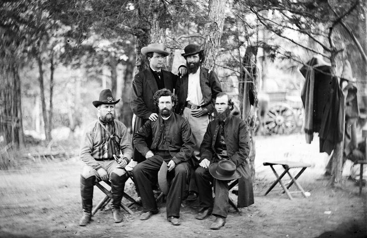 """Group from Irish Brigade, July 1862, Harrison's Landing, Virginia. The Irish Brigade was an infantry brigade, consisting predominantly of Irish Americans, that served in the Union Army. The designation of the first regiment in the brigade, the 69th New York Infantry, or the """"Fighting 69th"""", continued in later wars. The Irish Brigade was known in part for its famous war cry, the """"faugh a ballagh"""", which is an anglicization of the Irish phrase, fág an bealach, meaning """"clear the way""""."""