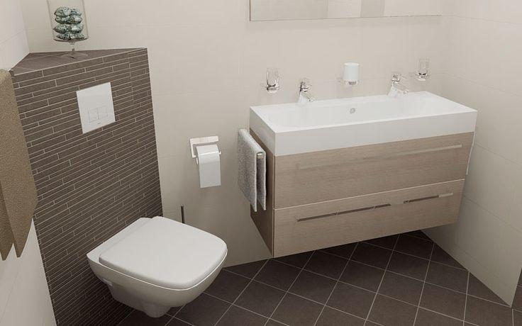 Kleine badkamers 200x200cm met dubbel badkamermeubel en WC met klein hoek…