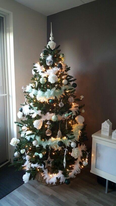 Christmas tree met wit en 2 kleuren groen
