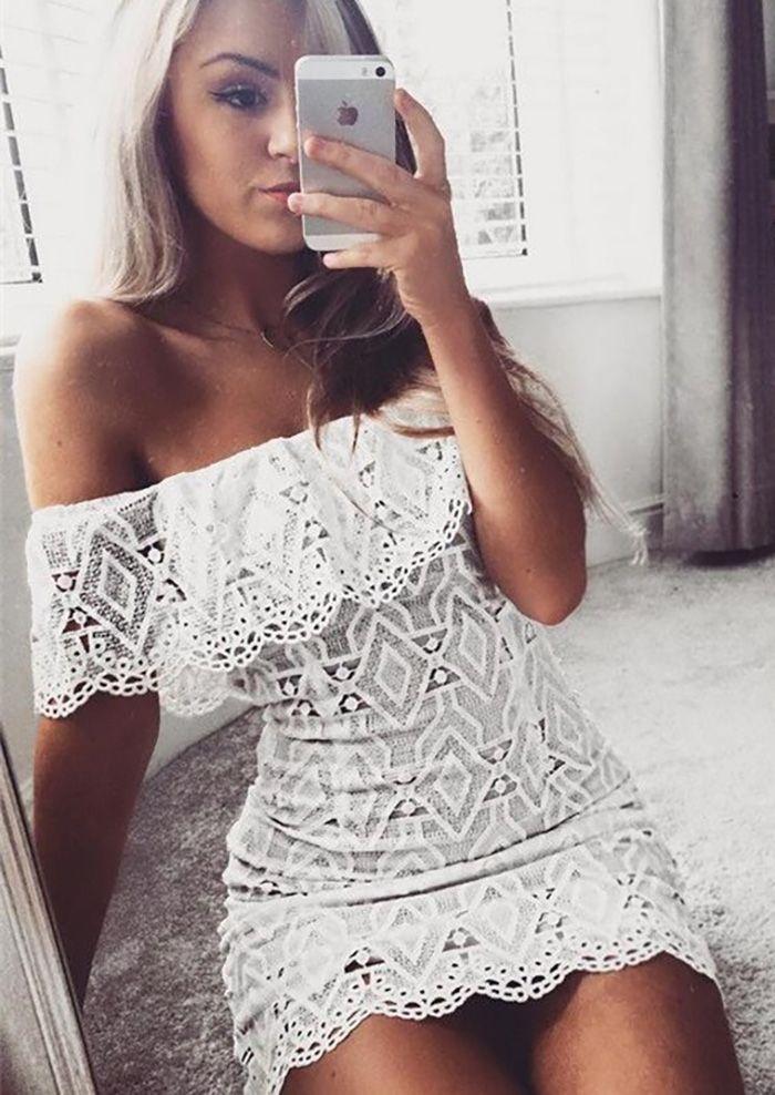 Sukienka odkryte ramiona koronkowa ażurkowa biała hit modowy