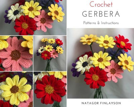 Gerbera Daisy Crochet Pattern Crochet Gerbera Pattern Easy Etsy Crochet Flower Patterns Crochet Flowers Crochet Valentine Patterns
